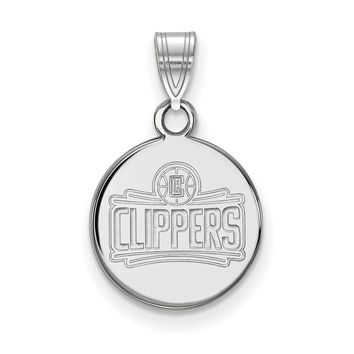 NBA Los Angeles Clippers Small Disc Pendant in Sterling Silver