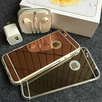 SE Ultra Slim Gold Mirror Case For iPhone 5S 6 6S 7 Plus Soft TPU Silicon Protective Back Cover Celular For iPhone 5 4S SE Cases