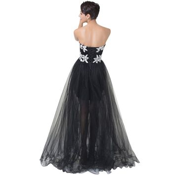 Grace Karin Long Black Prom Dresses Short Front Long Back Prom Gowns Sexy Lace Crochet Embellished Special Occasion Dress