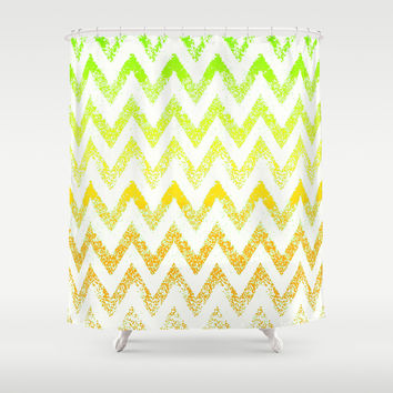ombre golden green chevron Shower Curtain by Marianna Tankelevich