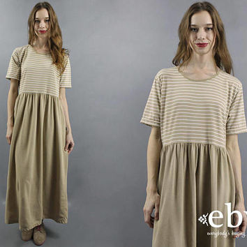 T Shirt Dress Striped Dress 90s Dress 90s Maxi Dress 1990s Dress Beige Dress Tee Dress Normcore Dress Striped Tee Dress S M L