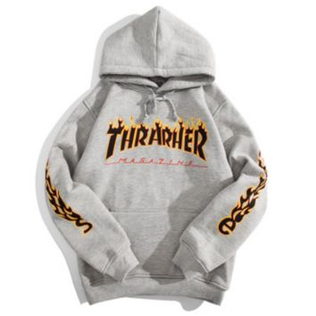 Thrasher Flame Print Women Man Can Wear Winter Long Sleeve Hooded Pullover Sweater