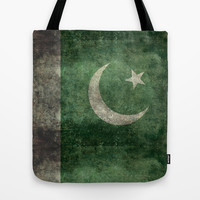 The National Flag of Pakistan - Vintage Version Tote Bag by LonestarDesigns2020 - Flags Designs +