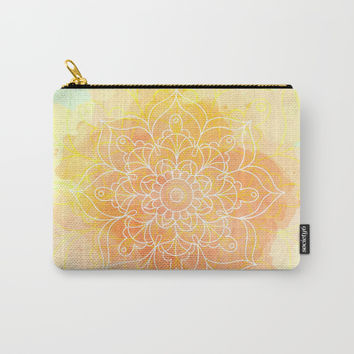 Watercolor Mandala // Sunny Floral Mandala Carry-All Pouch by cadinera