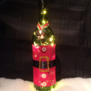 Santa wine bottle lamp, Christmas wine bottle lamp, santa accent lamp, night light, Christmas decorations