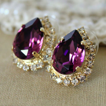 Purple violet Crystal big teardrop stud earring - 14k plated gold post earrings real swarovski rhinestones .