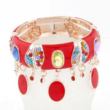 Bohemian Style Colorful Gemstone Red Bracelet, Lady-wearing Bracelet, Party Jewelry, Birthday Gifts, Handcrafted Jewelry 11030749