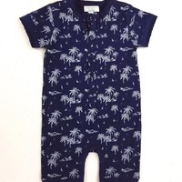 Henley Romper - Vintage Hawaii by Feather Baby