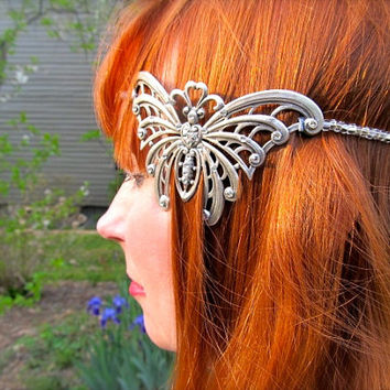 1920s Headband Wedding Headpiece Butterfly Fascinator Sterling Headband Crystal Tiara Art Nouveau Bridal Headband - On The Wings Of Love
