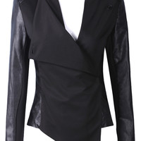Black Contrast PU Leather Long Sleeve Crop Jacket - Sheinside.com
