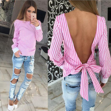 Striped Long Sleeve Halter T-Shirt with Bowknot