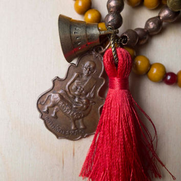 "Thai Amulet necklace, prayer beads, brass, copper, long boho necklace, red silk tassel, yoga jewelry, buddist inspired, hindi, ""Samadhi"""
