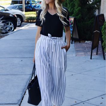 Striped Tie Pants White