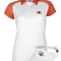 Women's VIP Golf Polo & Golf Visor (Orange/White)