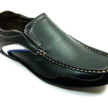 Mens Rocus Slip On Moccasin Driver Loafers Shoes CAS-902 Black