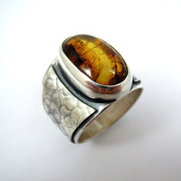 Men's Amber Ring in Silver / Men's Ring / Men's Jewelry