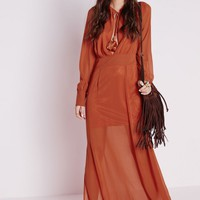 CHIFFON TASSEL TIE MAXI DRESS RUST