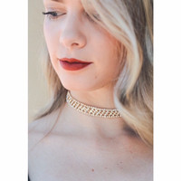 Rhinestone Jeweled Choker Gold