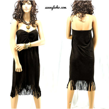 80s faux suede boho tribal dress size M dark brown fringed sleeveless dress SunnyBohoVintage