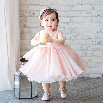 Cute Pink Chiffon Sleeveless Newborn Girl Dress Beaded Infant Christening Gown 1 Year Birthday Party Dress For Baby Baptism