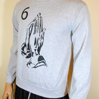 Drake 6 God Sweatshirt Mens Crewneck Praying Hands OVO