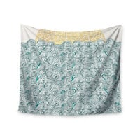 "Pom Graphic Design ""Sunny Tribal Seas II"" Teal Ocean Wall Tapestry"
