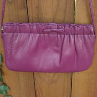 1980's Purse, Fushia Pink Shoulder Strap Bag, Leather Bag. Small Purse, Pretty Ruffle and Bow Bag