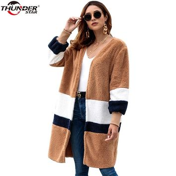 Winter Teddy Bear Jacket Women Fashion Faux Fur Streetwear Warn Elegant Long Coat Female 2018 Casual Autumn Coat Outerwear