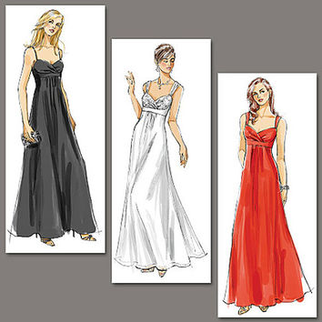 Sleeveless Evening, Prom WEDDING BRIDAL Bridesmaid Dress Pleated Inset Empire Waist Bare Back Vogue 8360 Sewing Pattern Bust 34-36-38 UNCUT