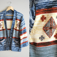 The Aztec Artist - Vintage 60s 70s Blue Stripped Flared Cozy Sweater Jacket