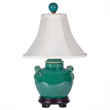 Turquoise Green Round Pottery Lamp
