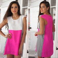 Pink and White Colorblock Chevron Dress