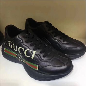 GUCCI 2018 retro sports casual men and women with the same paragraph couple shoes F black