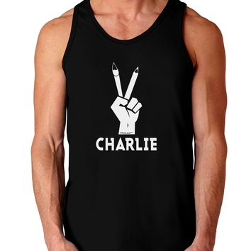 Hand Peace Sign - Charlie Design Dark Loose Tank Top  by TooLoud