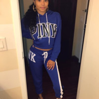 Victoria Pink Fashion new letter print sports hooded sweater trousers women two-piece suit jumpsuit Blue