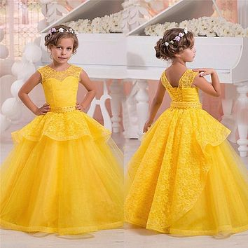 Princess Yellow Flower Girl Dresses Lace Kids Christmas Evening Dress Ball Gown Pageant Dress 2017 First Holy Communion Dreses