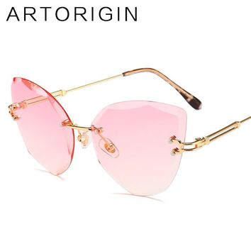 Luxury Cat Eye Sunglasses For Women Trimming Tint Gradient Color Glasses Ladies New Fashion Trend Female Eyewear 2018 Oculos