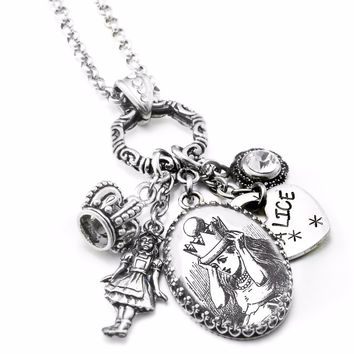 Alice in Wonderland Silver Necklace