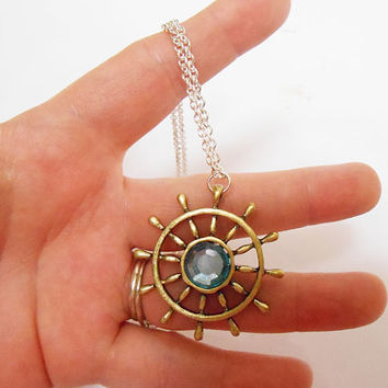 Once Upon A time abc Ouat Captain hook emma swan ship wheel charm necklace pendant