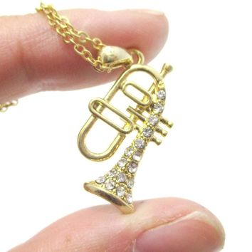Trumpet Instrument Shaped Rhinestone Pendant Necklace in Gold   For Music Lovers