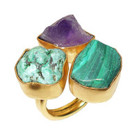 Turquoise Ring - Malachite Ring - Amethyst Ring - unique Ring- Cocktial Ring - Gemstone Ring - Brass Ring - Gold Vermeil Jewelry