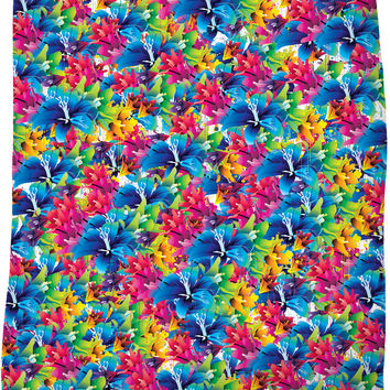 Flowers, flowers everywhere, colorful floral pattern, red, blue, yellow colors