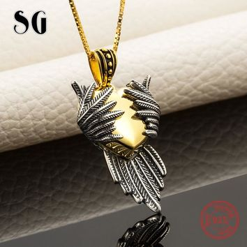 Hot sale love heart wing pendant chain necklace 925 sterling silver European diy fashion jewelry making for women gifts