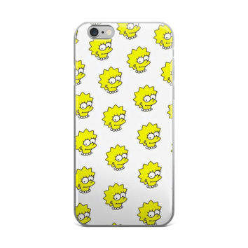 Lisa Simpson Head Collage The Simpsons White & Yellow iPhone 4 4s 5 5s 5C 6 6s 6 Plus 6s Plus 7 & 7 Plus Case