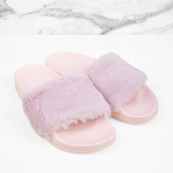 Rebel Faux Fur Slides