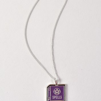 Purple & Silver Enamel Spell Book Charm Necklace