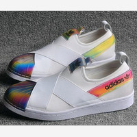 """ADIDAS"" S81340 Trending Fashion Casual Sports Shoes Black white laser shell top cap"
