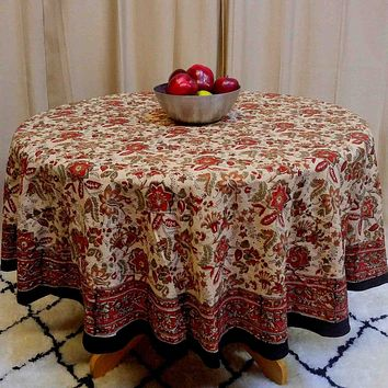 Block Print Tablecloth Rectangular Jaipur Floral Cotton Table Linen Square Round