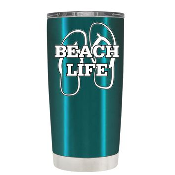 The Beach Life Sandals on Teal 20 oz Tumbler Cup