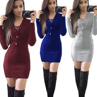 Christmas Warm kint dress Women Winter Long Sleeve bandage Jumper Tops High Quality Knitted Sweater Loose Tunic Dresses